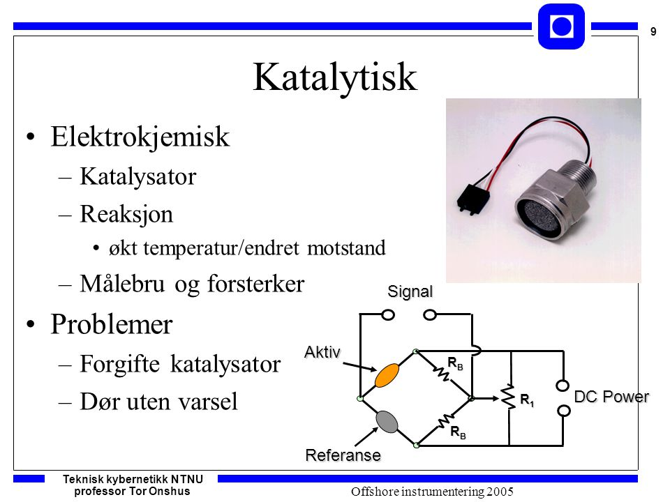 Teknisk kybernetikk NTNU professor Tor Onshus 10 Offshore instrumentering 2005 IR deteksjon To bølgelengder lys –Måle –Referanse Skille gass fra –Blokkering –Belegg –Kilde død Methane Propane active absorption band reference absorption band