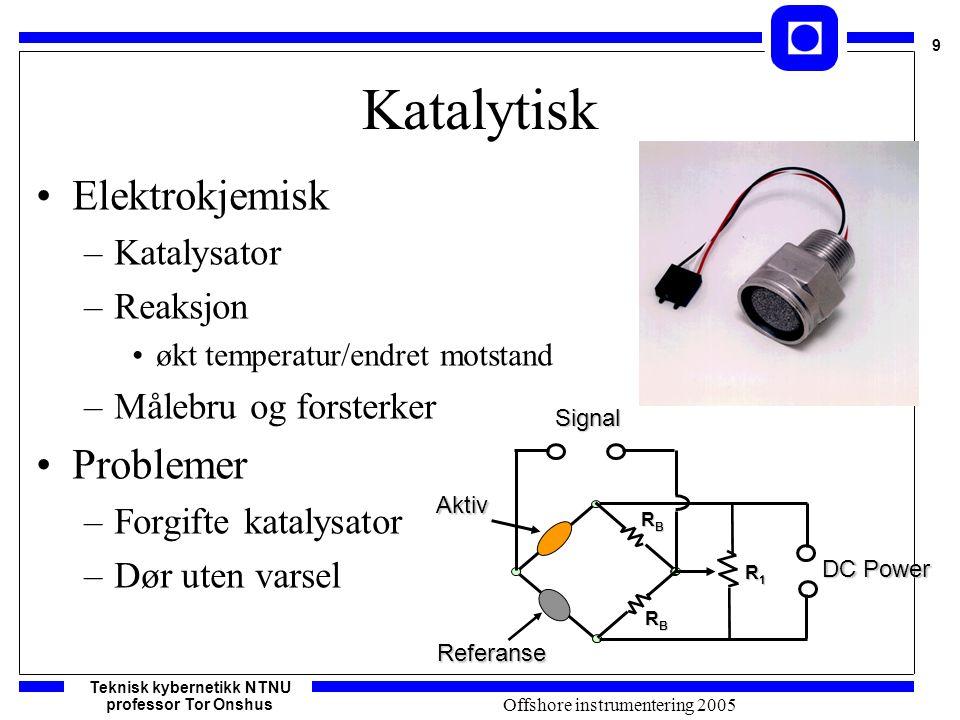 Teknisk kybernetikk NTNU professor Tor Onshus 9 Offshore instrumentering 2005 Katalytisk Elektrokjemisk –Katalysator –Reaksjon økt temperatur/endret m