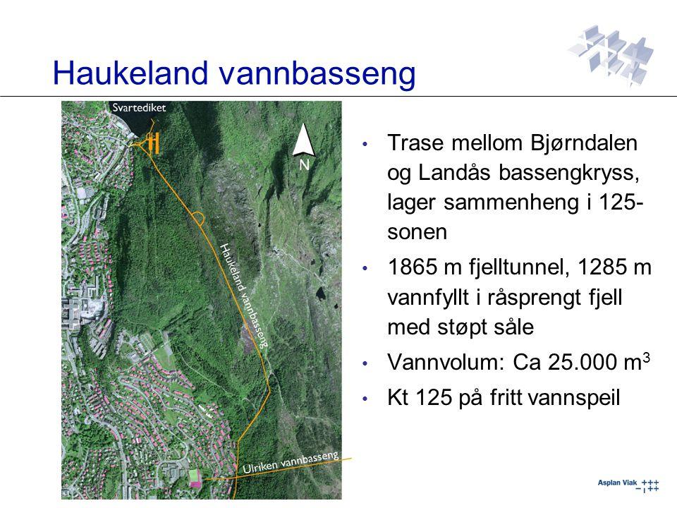 Trase mellom Bjørndalen og Landås bassengkryss, lager sammenheng i 125- sonen 1865 m fjelltunnel, 1285 m vannfyllt i råsprengt fjell med støpt såle Va