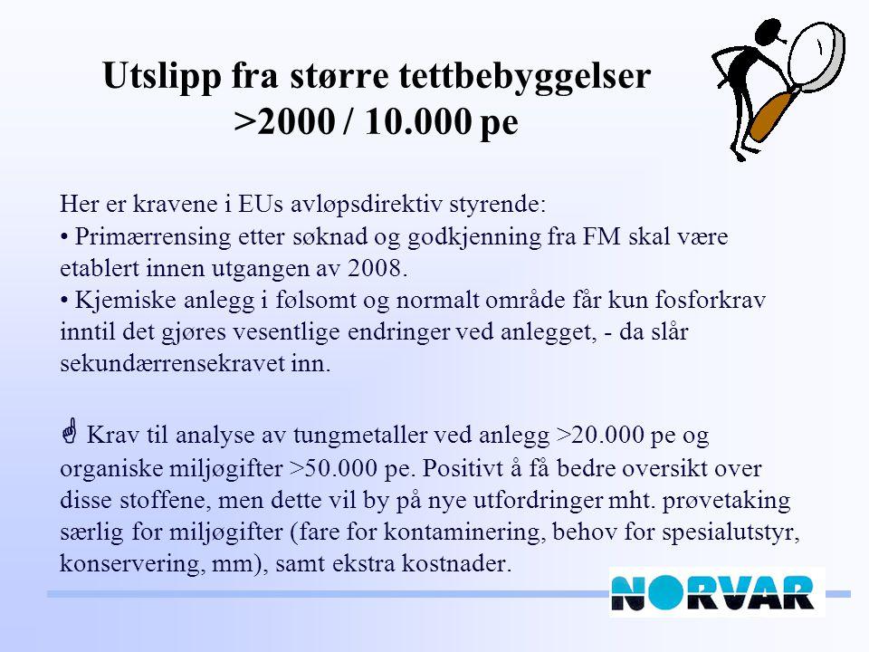 Utslipp fra større tettbebyggelser >2000 / 10.000 pe Her er kravene i EUs avløpsdirektiv styrende: Primærrensing etter søknad og godkjenning fra FM skal være etablert innen utgangen av 2008.