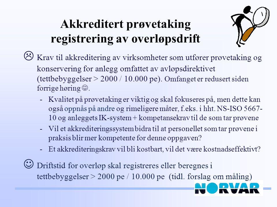 Akkreditert prøvetaking registrering av overløpsdrift  Krav til akkreditering av virksomheter som utfører prøvetaking og konservering for anlegg omfattet av avløpsdirektivet (tettbebyggelser > 2000 / 10.000 pe).