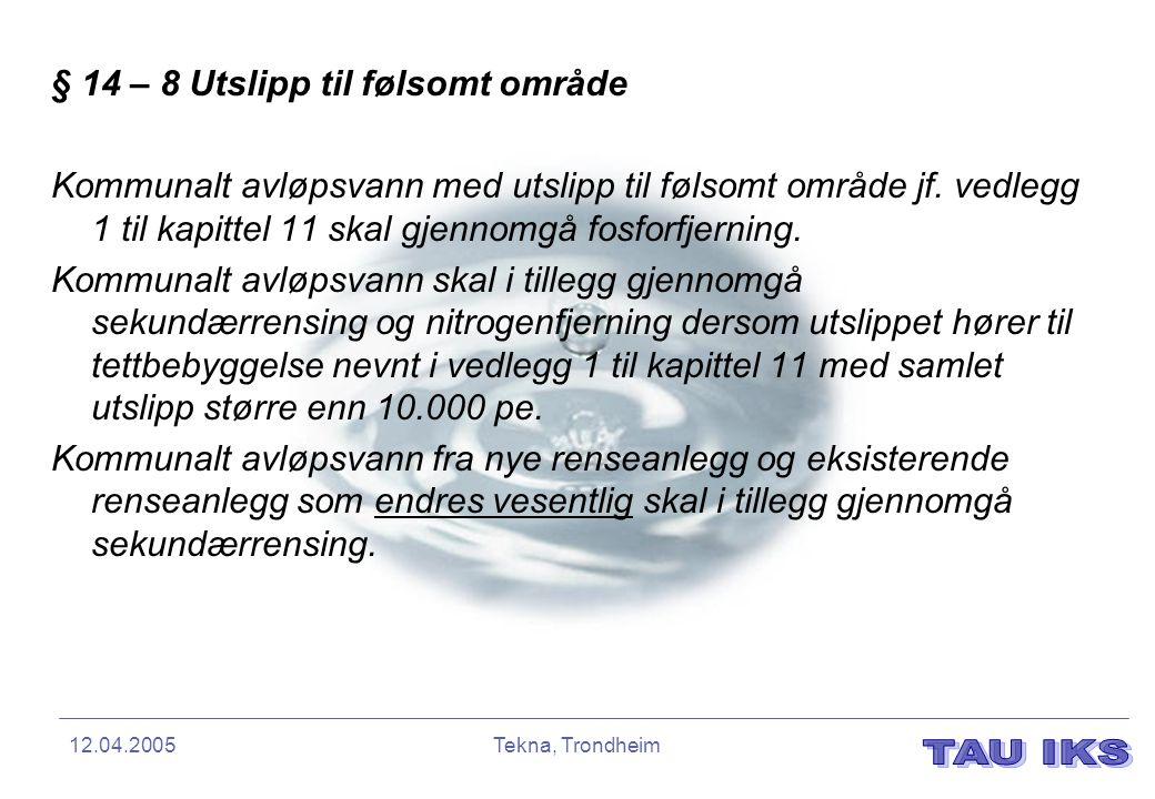 12.04.2005Tekna, Trondheim § 14 – 8 Utslipp til følsomt område Kommunalt avløpsvann med utslipp til følsomt område jf. vedlegg 1 til kapittel 11 skal
