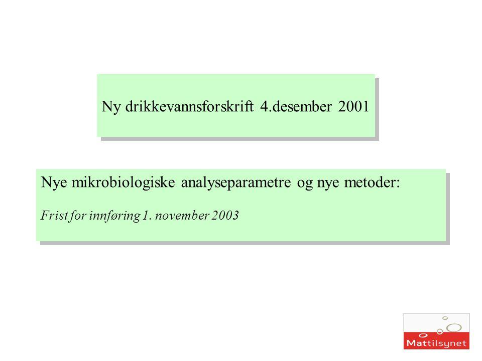 Ny drikkevannsforskrift 4.desember 2001 Nye mikrobiologiske analyseparametre og nye metoder: Frist for innføring 1. november 2003 Nye mikrobiologiske