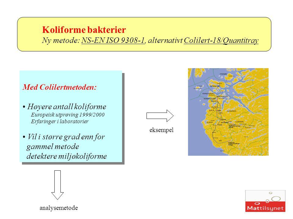 Koliforme bakterier Ny metode: NS-EN ISO 9308-1, alternativt Colilert-18/Quantitray Med Colilertmetoden: Høyere antall koliforme Europeisk utprøving 1