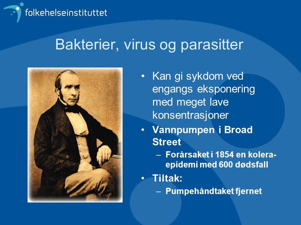 Bakterier, virus og parasitter Kan gi sykdom ved engangs eksponering med meget lave konsentrasjoner Vannpumpen i Broad Street –Forårsaket i 1854 en ko