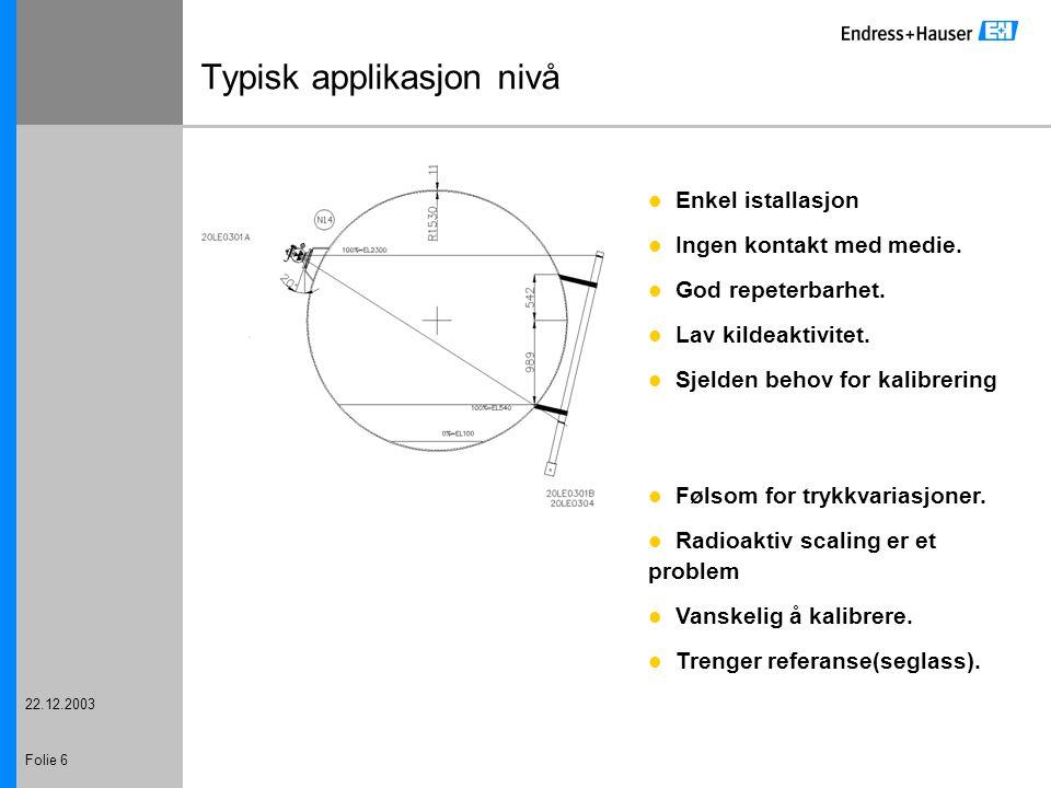 22.12.2003 Folie 7 Typisk applikasjon nivå (tykk vegg) Enkel istallasjon Ingen kontakt med medie.