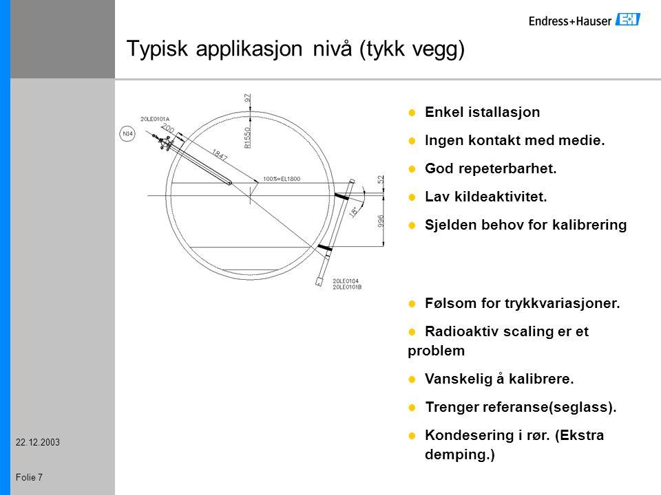 22.12.2003 Folie 7 Typisk applikasjon nivå (tykk vegg) Enkel istallasjon Ingen kontakt med medie. God repeterbarhet. Lav kildeaktivitet. Sjelden behov