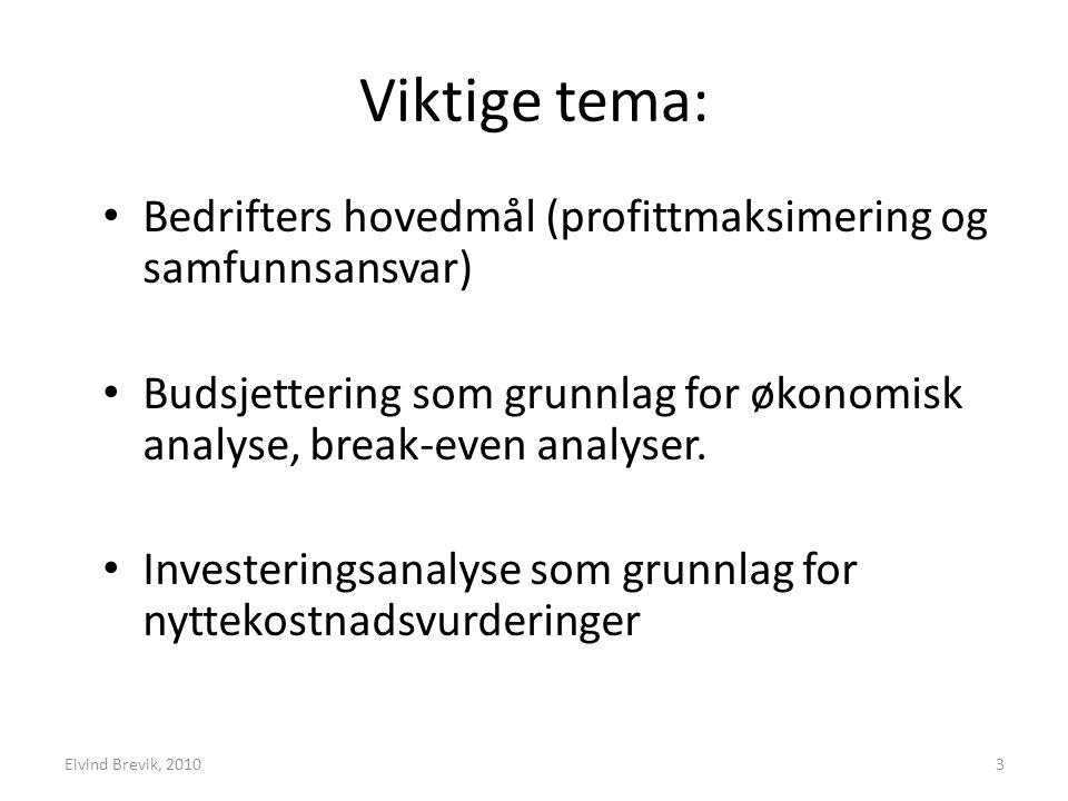 Målavklaring Statskonsults modell for nyttekostnadsanalyser Konkretisering av nytte og kostnad Lønnsomhets- analyser Følsomhetsanalyser 34Eivind Brevik 2010
