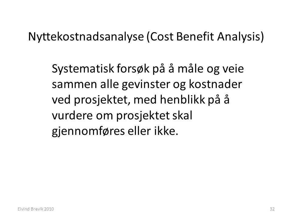 Nyttekostnadsanalyse (Cost Benefit Analysis) Systematisk forsøk på å måle og veie sammen alle gevinster og kostnader ved prosjektet, med henblikk på å