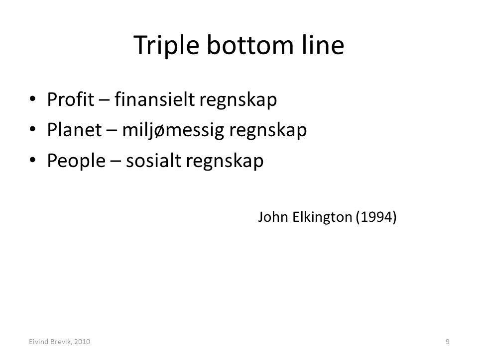 Triple bottom line Profit – finansielt regnskap Planet – miljømessig regnskap People – sosialt regnskap John Elkington (1994) 9Eivind Brevik, 2010