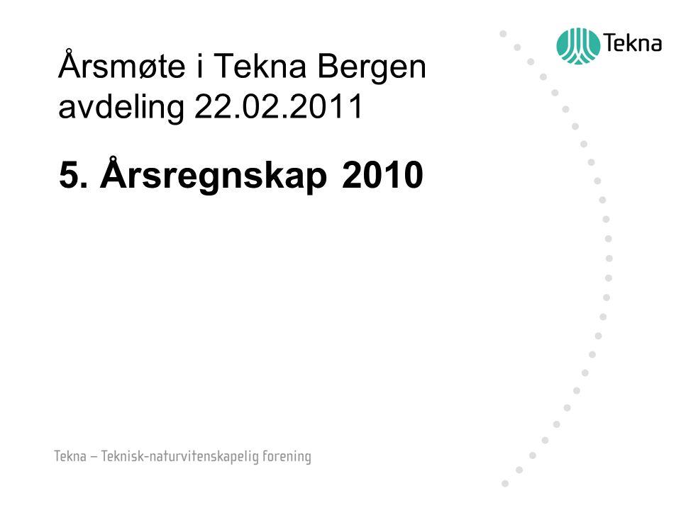 Årsmøte i Tekna Bergen avdeling 22.02.2011 5. Årsregnskap 2010