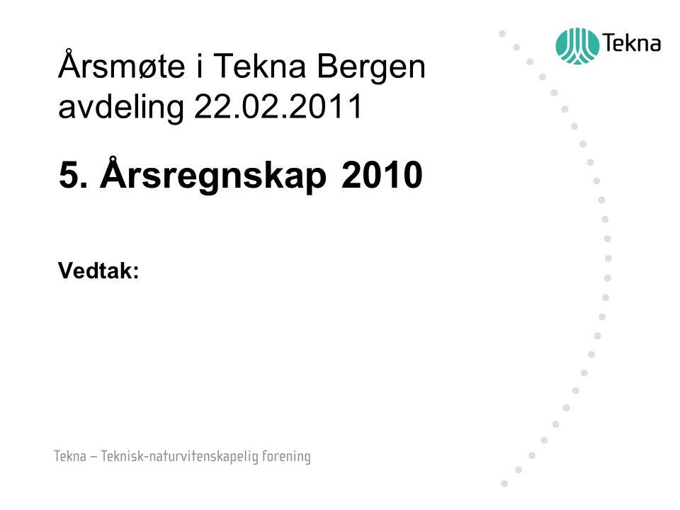 Årsmøte i Tekna Bergen avdeling 22.02.2011 5. Årsregnskap 2010 Vedtak: