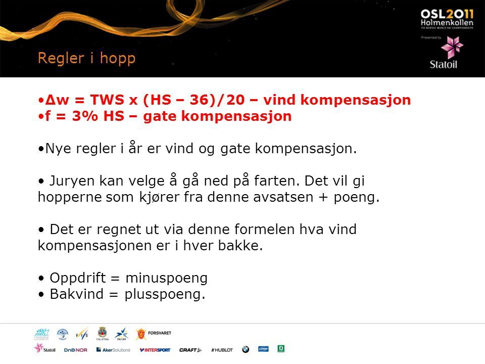 Regler i hopp Δw = TWS x (HS – 36)/20 – vind kompensasjon f = 3% HS – gate kompensasjon Nye regler i år er vind og gate kompensasjon.