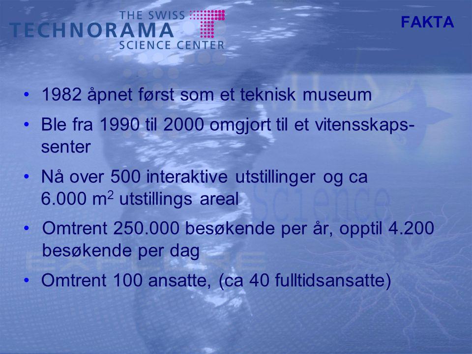 FAKTA 1982 åpnet først som et teknisk museum Ble fra 1990 til 2000 omgjort til et vitensskaps- senter Nå over 500 interaktive utstillinger og ca 6.000 m 2 utstillings areal Omtrent 250.000 besøkende per år, opptil 4.200 besøkende per dag Omtrent 100 ansatte, (ca 40 fulltidsansatte)