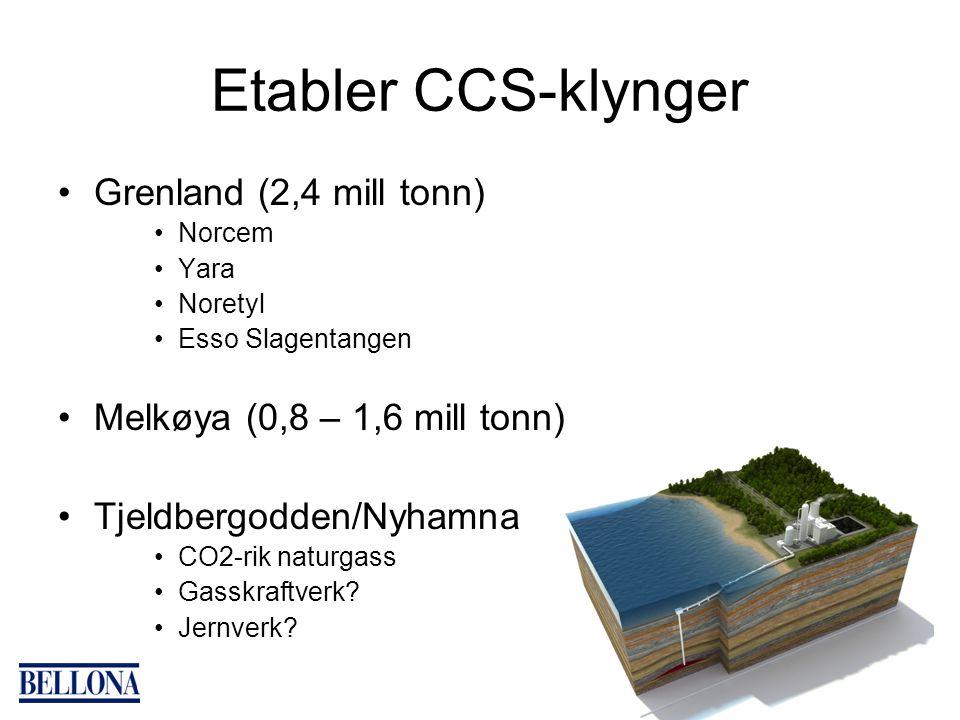 Etabler CCS-klynger Grenland (2,4 mill tonn) Norcem Yara Noretyl Esso Slagentangen Melkøya (0,8 – 1,6 mill tonn) Tjeldbergodden/Nyhamna CO2-rik naturg