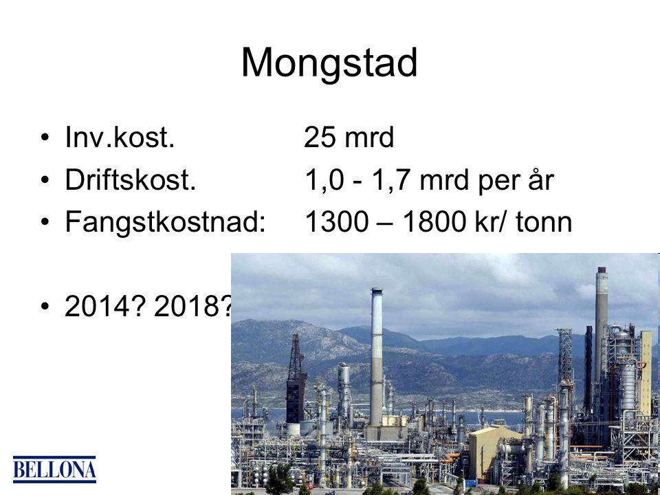Mongstad Inv.kost. 25 mrd Driftskost. 1,0 - 1,7 mrd per år Fangstkostnad: 1300 – 1800 kr/ tonn 2014? 2018?