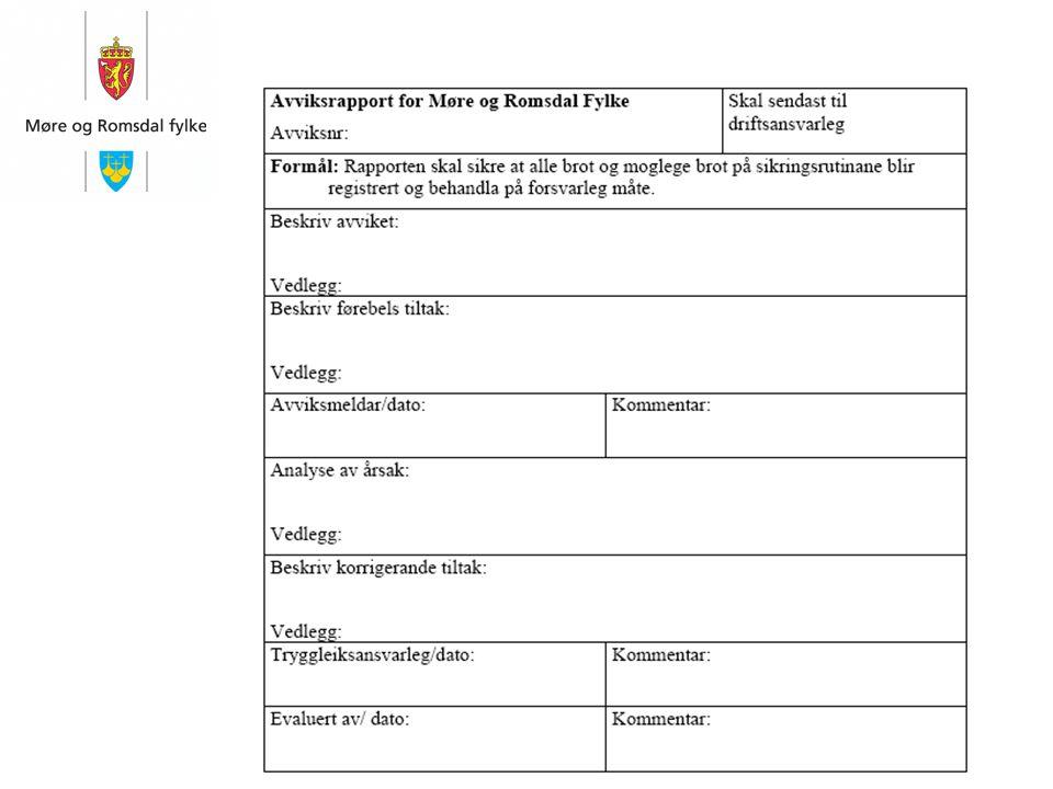 Avviksrapporten skal: ● bruke skjemaet som er vedlegg i kapittel 10.3 som mal ● sendast til driftsansvarleg ● driftsansvarleg skal sette i gong dokume