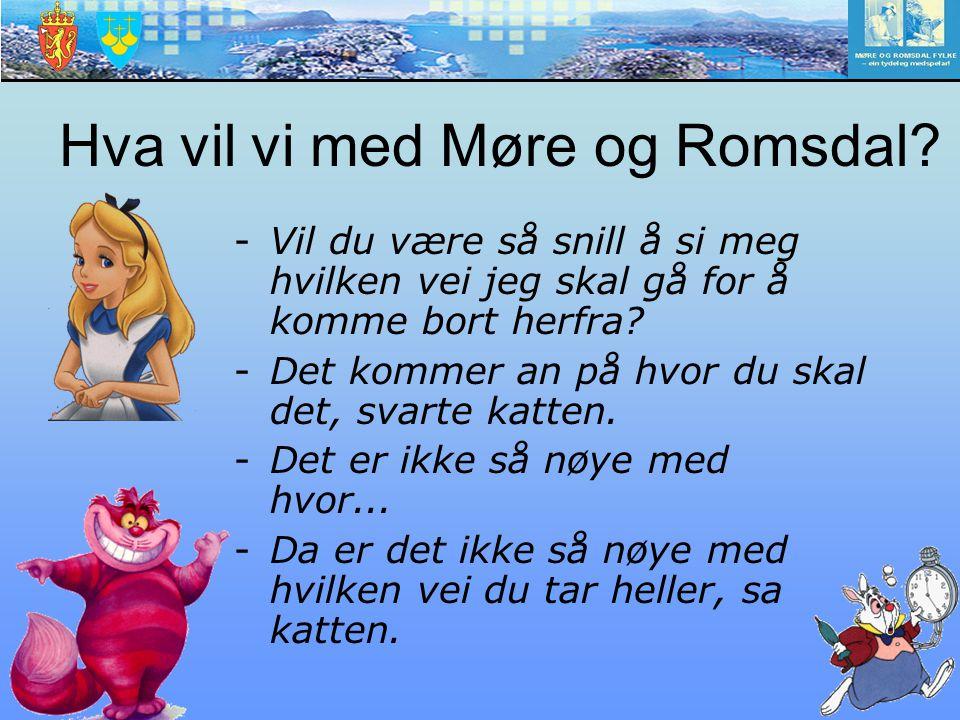 Hva vil vi med Møre og Romsdal? -Vil du være så snill å si meg hvilken vei jeg skal gå for å komme bort herfra? -Det kommer an på hvor du skal det, sv