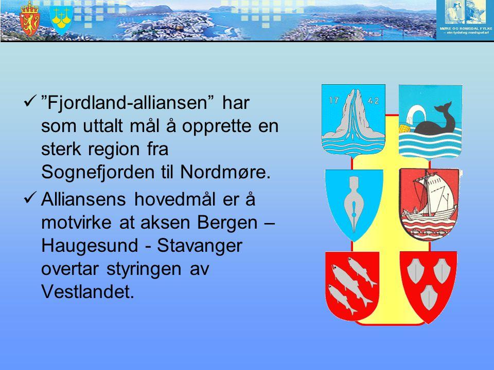 """""""Fjordland-alliansen"""" har som uttalt mål å opprette en sterk region fra Sognefjorden til Nordmøre. Alliansens hovedmål er å motvirke at aksen Bergen –"""