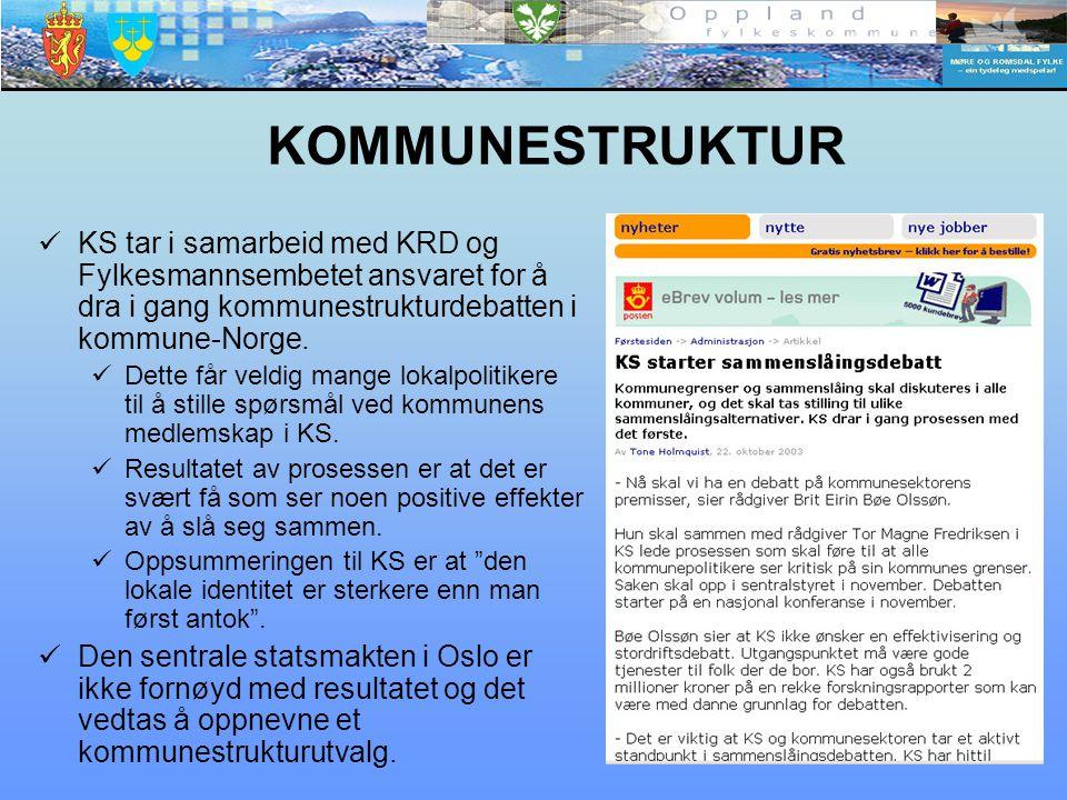 KOMMUNESTRUKTUR KS tar i samarbeid med KRD og Fylkesmannsembetet ansvaret for å dra i gang kommunestrukturdebatten i kommune-Norge. Dette får veldig m