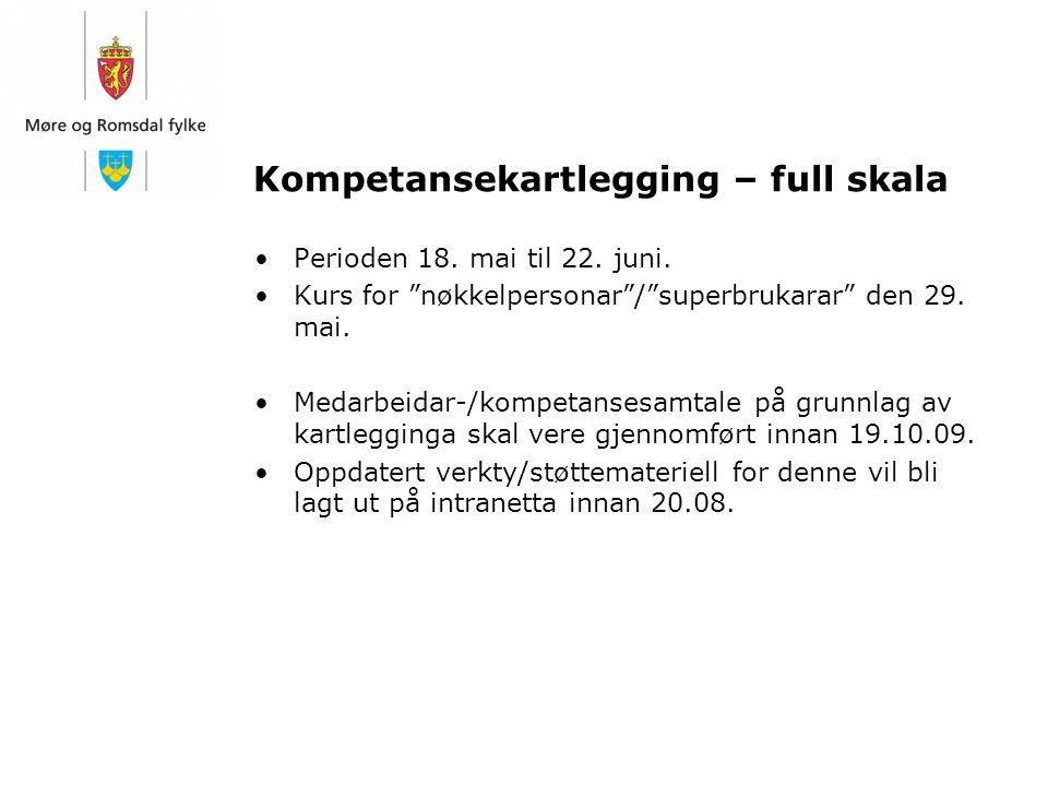 """Kompetansekartlegging – full skala Perioden 18. mai til 22. juni. Kurs for """"nøkkelpersonar""""/""""superbrukarar"""" den 29. mai. Medarbeidar-/kompetansesamtal"""