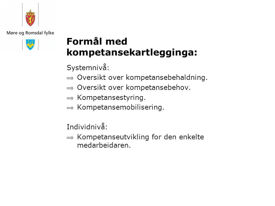 Formål med kompetansekartlegginga: Systemnivå: Oversikt over kompetansebehaldning. Oversikt over kompetansebehov. Kompetansestyring. Kompetansemob