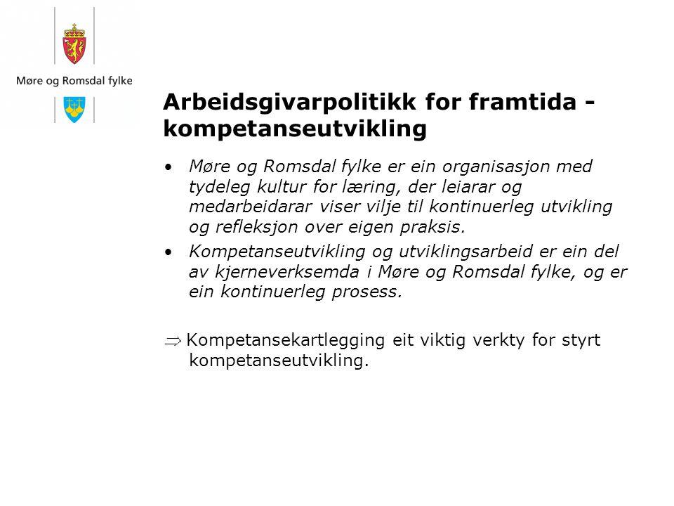 Arbeidsgivarpolitikk for framtida - kompetanseutvikling Møre og Romsdal fylke er ein organisasjon med tydeleg kultur for læring, der leiarar og medarb