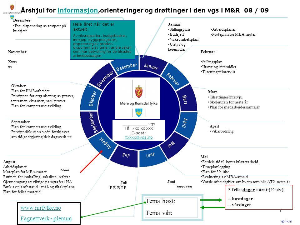1 Årshjul for informasjon,orienteringer og drøftinger i den vgs i M&R 08 / 09informasjon __________ vgs Tlf: 7xx xx xxx E-post: Xxxxx@vgs.no September