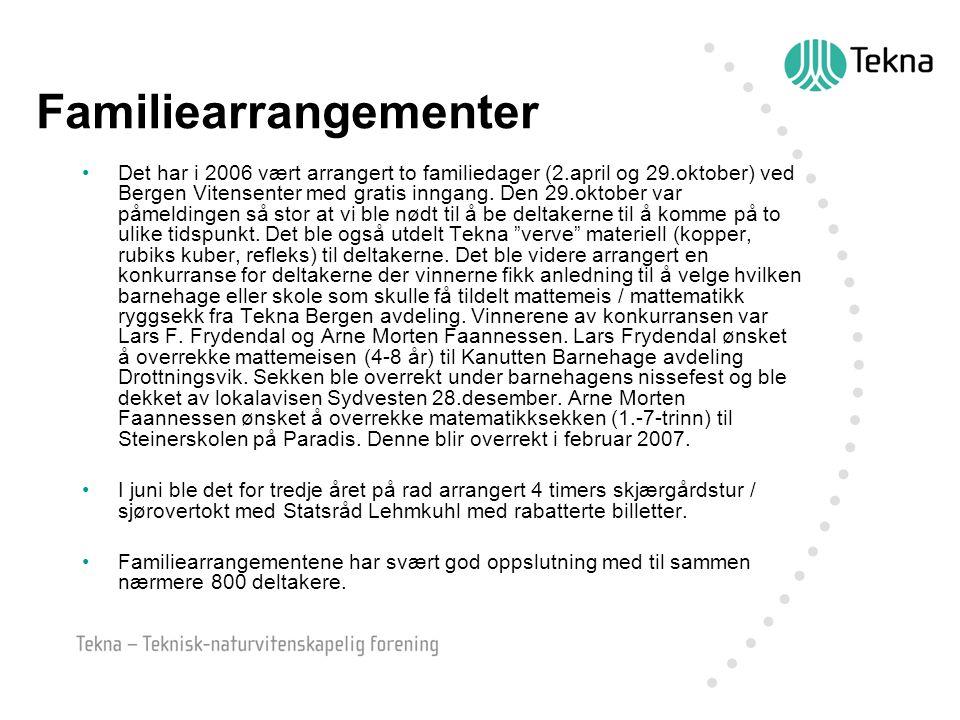 Familiearrangementer Det har i 2006 vært arrangert to familiedager (2.april og 29.oktober) ved Bergen Vitensenter med gratis inngang. Den 29.oktober v