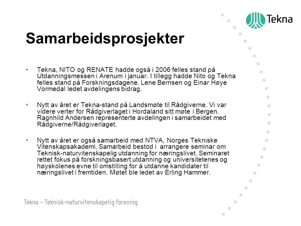 Samarbeidsprosjekter Tekna, NITO og RENATE hadde også i 2006 felles stand på Utdanningsmessen i Arenum i januar. I tillegg hadde Nito og Tekna felles