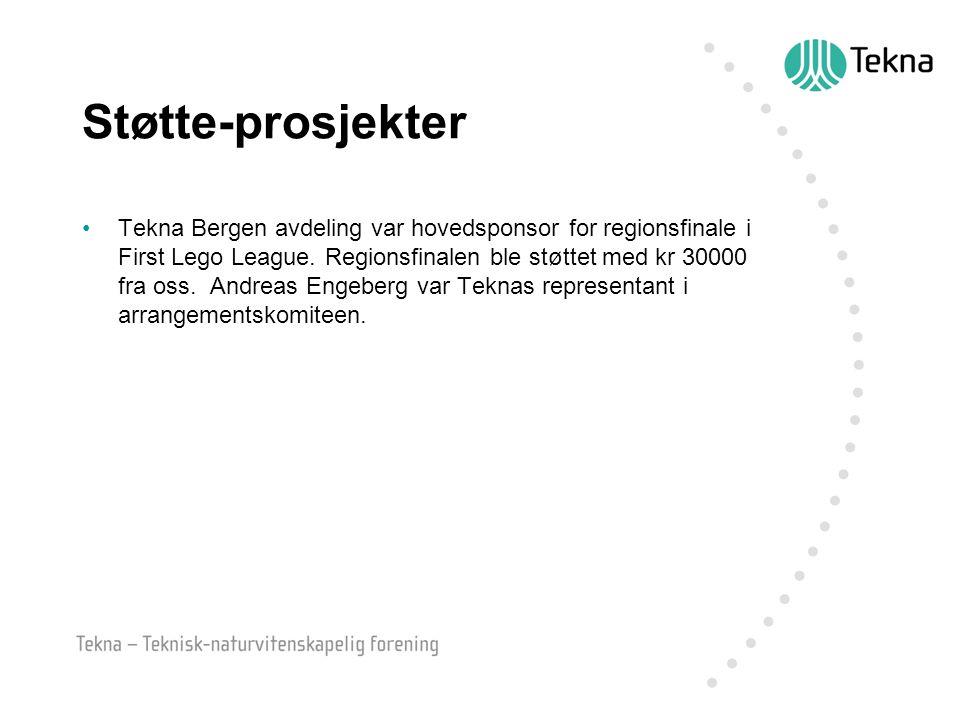 Støtte-prosjekter Tekna Bergen avdeling var hovedsponsor for regionsfinale i First Lego League. Regionsfinalen ble støttet med kr 30000 fra oss. Andre