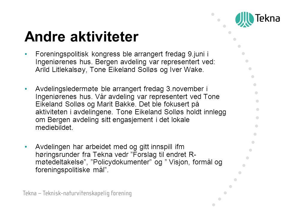 Andre aktiviteter Foreningspolitisk kongress ble arrangert fredag 9.juni i Ingeniørenes hus. Bergen avdeling var representert ved: Arild Litlekalsøy,
