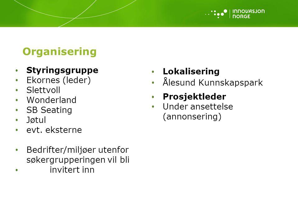 Organisering Styringsgruppe Ekornes (leder) Slettvoll Wonderland SB Seating Jøtul evt. eksterne Bedrifter/miljøer utenfor søkergrupperingen vil bli in