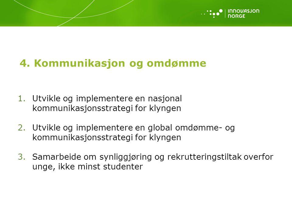 4. Kommunikasjon og omdømme 1.Utvikle og implementere en nasjonal kommunikasjonsstrategi for klyngen 2.Utvikle og implementere en global omdømme- og k