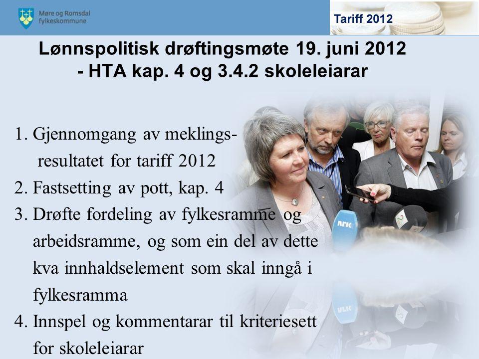 Lønnspolitisk drøftingsmøte 19. juni 2012 - HTA kap. 4 og 3.4.2 skoleleiarar 1. Gjennomgang av meklings- resultatet for tariff 2012 2. Fastsetting av