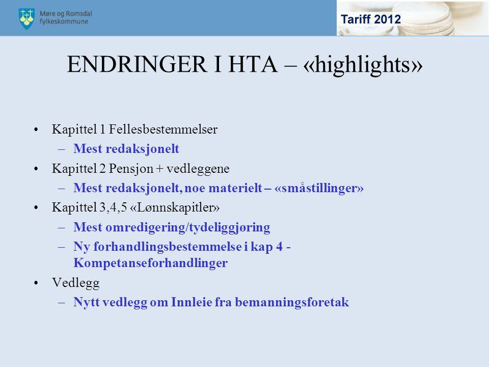 ENDRINGER I HTA – «highlights» Kapittel 1 Fellesbestemmelser –Mest redaksjonelt Kapittel 2 Pensjon + vedleggene –Mest redaksjonelt, noe materielt – «s