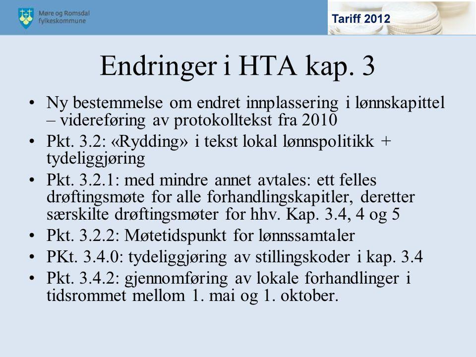 Endringer i HTA kap. 3 Ny bestemmelse om endret innplassering i lønnskapittel – videreføring av protokolltekst fra 2010 Pkt. 3.2: «Rydding» i tekst lo
