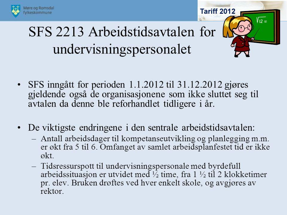 SFS 2213 Arbeidstidsavtalen for undervisningspersonalet SFS inngått for perioden 1.1.2012 til 31.12.2012 gjøres gjeldende også de organisasjonene som