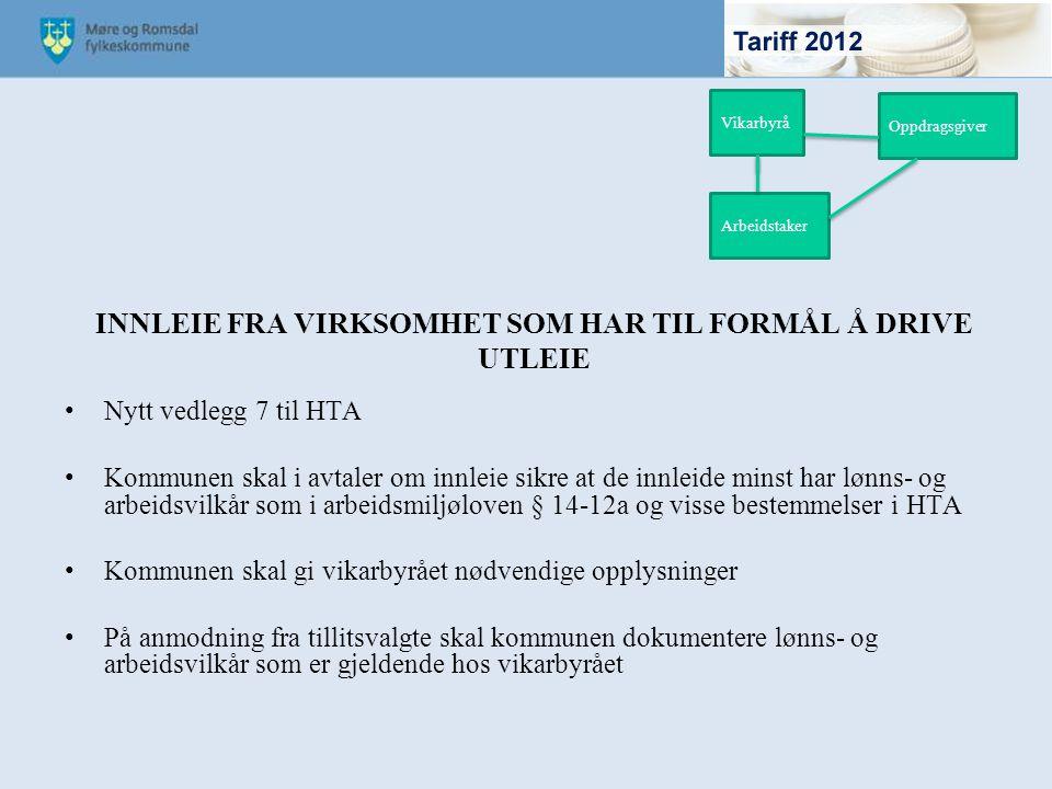 INNLEIE FRA VIRKSOMHET SOM HAR TIL FORMÅL Å DRIVE UTLEIE Nytt vedlegg 7 til HTA Kommunen skal i avtaler om innleie sikre at de innleide minst har lønn