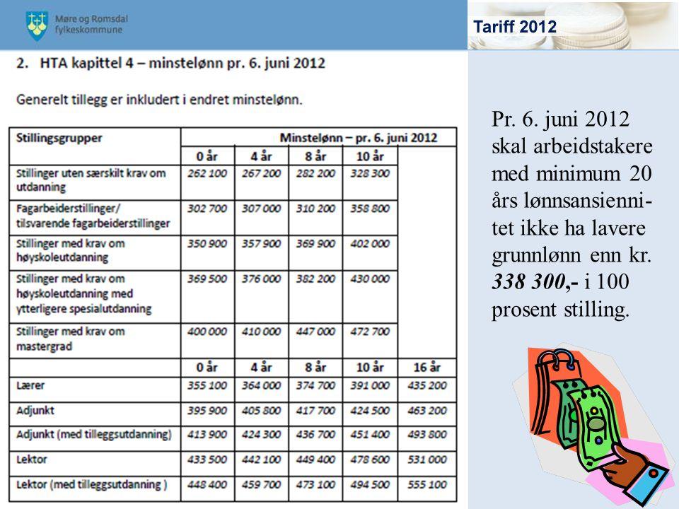 Pr. 6. juni 2012 skal arbeidstakere med minimum 20 års lønnsansienni- tet ikke ha lavere grunnlønn enn kr. 338 300,- i 100 prosent stilling.