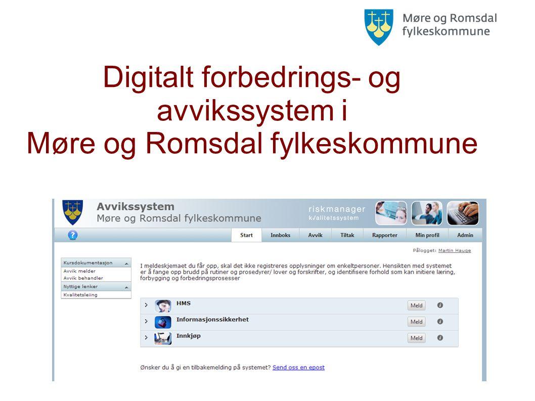 Digitalt forbedrings- og avvikssystem i Møre og Romsdal fylkeskommune
