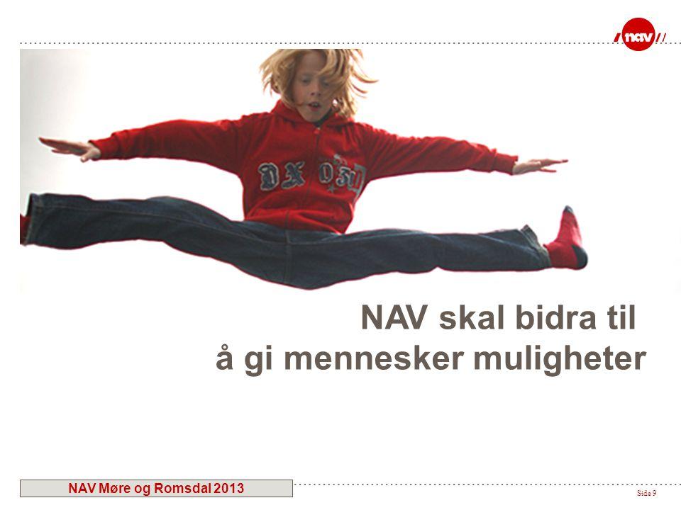 Side 9 NAV skal bidra til å gi mennesker muligheter NAV Møre og Romsdal 2013