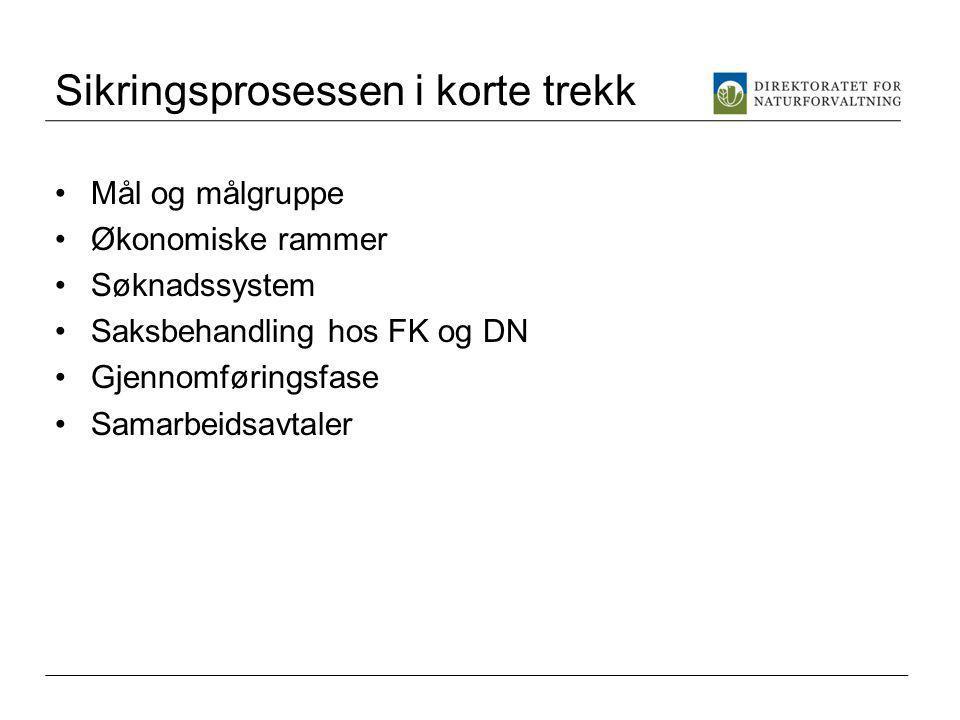 Sikringsprosessen i korte trekk Mål og målgruppe Økonomiske rammer Søknadssystem Saksbehandling hos FK og DN Gjennomføringsfase Samarbeidsavtaler