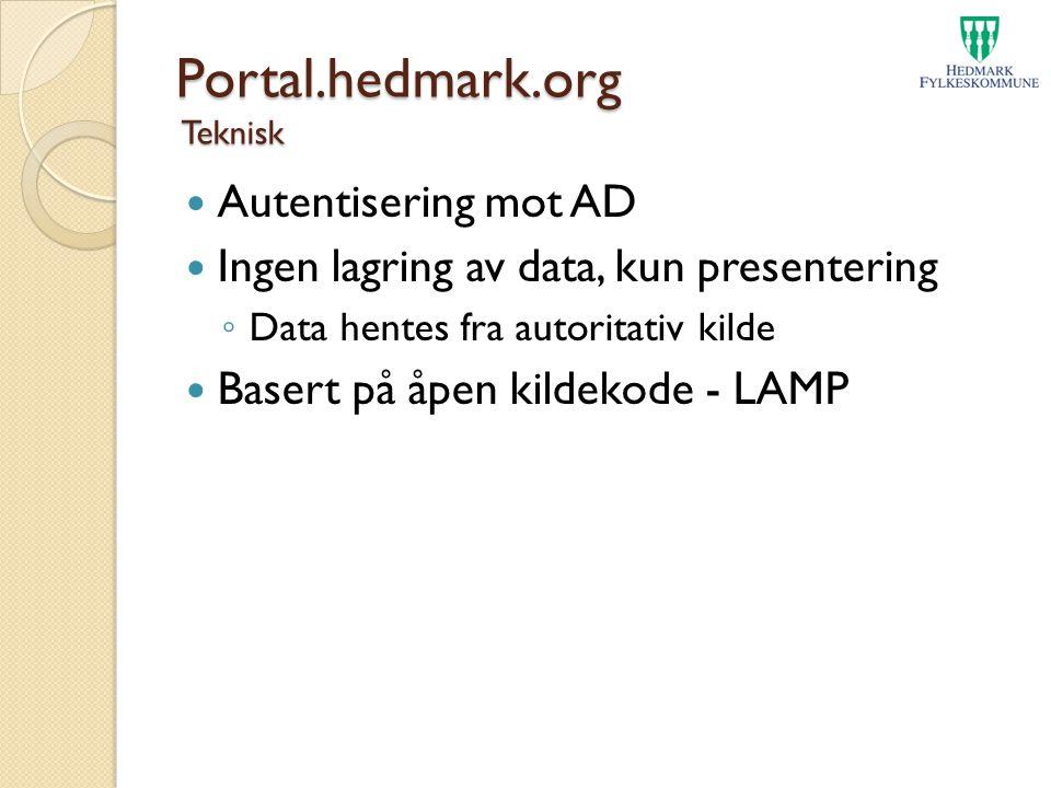 Portal.hedmark.org Teknisk Autentisering mot AD Ingen lagring av data, kun presentering ◦ Data hentes fra autoritativ kilde Basert på åpen kildekode -