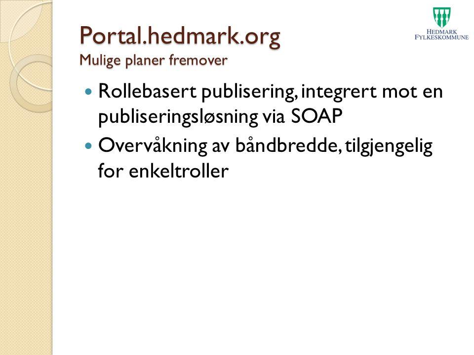Portal.hedmark.org Mulige planer fremover Rollebasert publisering, integrert mot en publiseringsløsning via SOAP Overvåkning av båndbredde, tilgjengel
