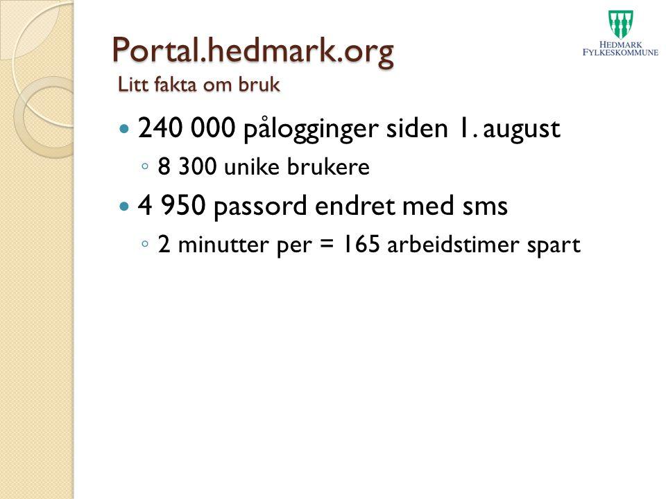 Portal.hedmark.org Litt fakta om bruk 240 000 pålogginger siden 1. august ◦ 8 300 unike brukere 4 950 passord endret med sms ◦ 2 minutter per = 165 ar
