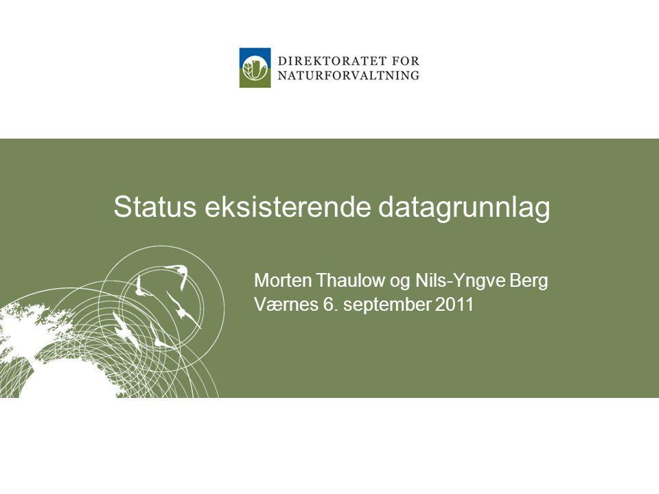 Hovedtrekk i arbeidet Oppdatering og supplering av eksisterende data –Naturbase –Forvaltningsplaner Registreringsarbeid –Regionale behov og utfordringer Analysearbeid –Nasjonalt nivå – basert på regionale data www.dirnat.no