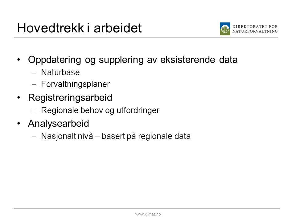 Hovedtrekk i arbeidet Oppdatering og supplering av eksisterende data –Naturbase –Forvaltningsplaner Registreringsarbeid –Regionale behov og utfordring