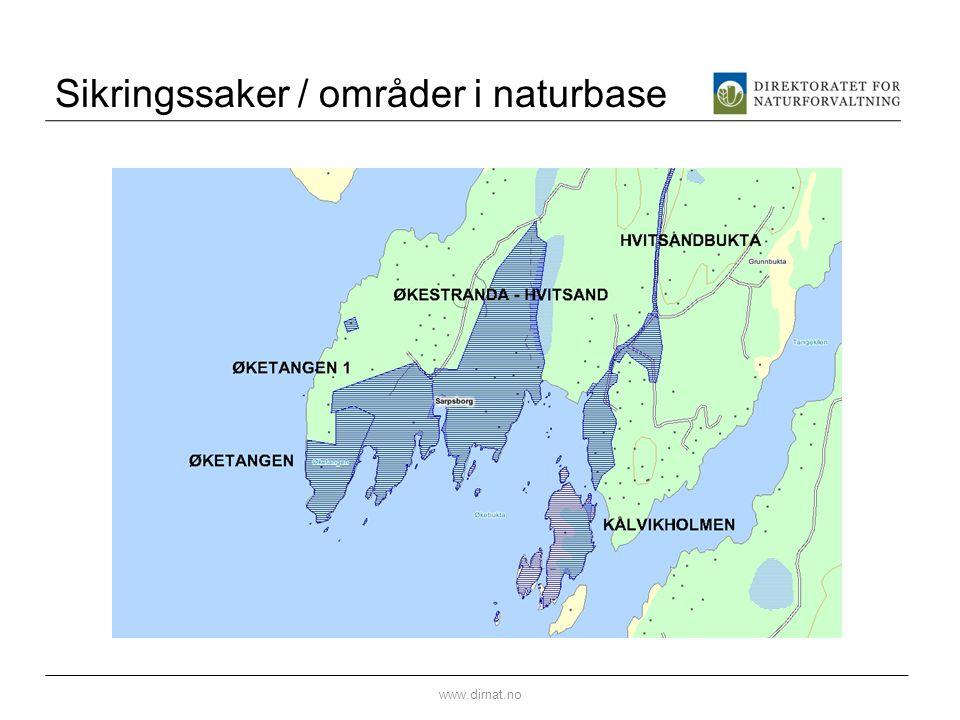Sikringssaker / områder i naturbase www.dirnat.no