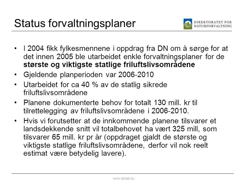 Status forvaltningsplaner I 2004 fikk fylkesmennene i oppdrag fra DN om å sørge for at det innen 2005 ble utarbeidet enkle forvaltningsplaner for de s
